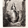Vintage 1800s Sepia Steel Engraving Illustration of Woman from The Poetical Works of Lord Byron by Thomas Moore.  The natural patina, age-toning, imperfections, and old paper antiquing of this vintage 19th century illustration are preserved in this image.