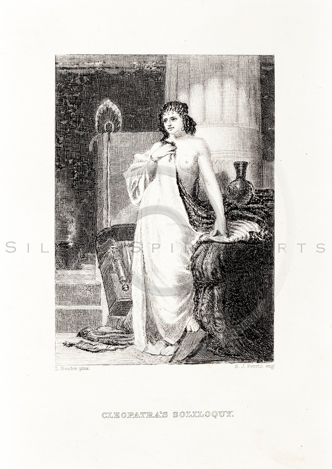 Vintage 1800s Sepia Steel Engraving Illustration of Cleopatra from THE LIBRARY OF CHOICE LITERATURE by Ainsworth Spofford.  The natural patina, age-toning, imperfections, and old paper antiquing of this vintage 19th century illustration are preserved in this image.
