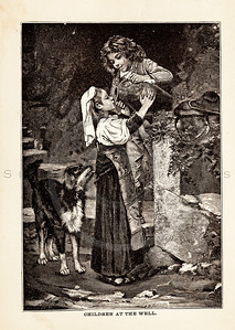 Vintage illustration of Children at a Well from 1887.  The natural age-toning, paper stains, and antique printing imperfections are preserved in this 1800s vintage stock image.