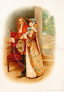 Vintage illustration of Woman and Man from TENNYSON'S HEROES & HEROINES by Raphael Tuck, 1880. The natural age-toning, paper stains, and antique printing imperfections are preserved in this 1800s vintage stock image.
