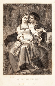 Vintage 1800s Sepia Illustration of Victorian Lovers - GODEY'S & PETERSON'S ETC. MAGAZINE