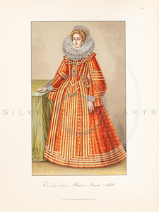 Vintage illustration of Maria Anna portrait by Hefner, 1889.  Antique digital download of old print - dress, woman, female, royal, skirt, clothing, color, costume, medieval.  The natural age-toning, paper stains, and antique printing imperfections are preserved in this 1800s stock image.