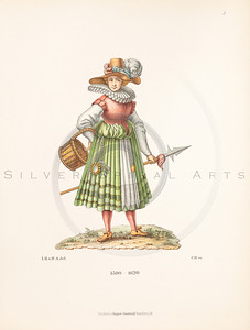 Vintage illustration of female dress by Hefner, 1889.  Antique digital download of old print - dress, skirt, hat, clothing, clothes, female, woman, women, pleated, bustle, color, costume, medieval.  The natural age-toning, paper stains, and antique printing imperfections are preserved in this 1800s stock image.