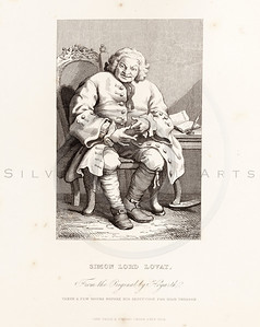 Vintage 1800s Sepia Illustration of a Lord steel engraving print from The Works of William Hogarth by John Nicols.  The natural patina, age-toning, imperfections, and old paper antiquing of this vintage 19th century illustration are preserved in this image.