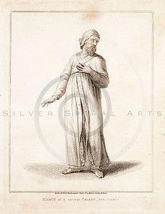 Vintage 1700s Sepia Illustration of Priest - FRAGMENTS OF THE HOLY SCRIPTURES by Calmet.