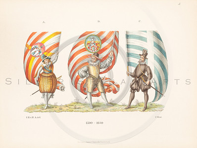 Vintage illustration of male costumes by Hefner, 1889.  Antique digital download of old print - pants, flags, hat, feather, dress, tunic, belt, attire, garment, men, man, male, sash, color, costume, medieval.  The natural age-toning, paper stains, and antique printing imperfections are preserved in this 1800s stock image.