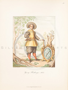 Vintage illustration of male costume by Hefner, 1889.  Antique digital download of old print - dress, tunic, belt, attire, garment, men, man, male, sash, color, costume, medieval.  The natural age-toning, paper stains, and antique printing imperfections are preserved in this 1800s stock image.