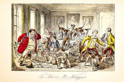 Vintage 1800s Color Illustration of Satirical Scene from MR. JORROCK'S HUNT by Robert Surtees.