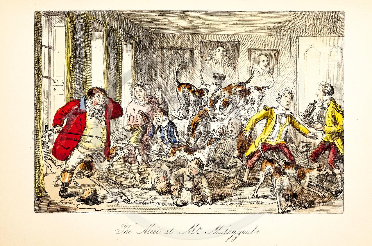 Vintage 1800s Color Illustration of Satirical Scene from MR. JORROCK'S HUNT by Robert Surtees.