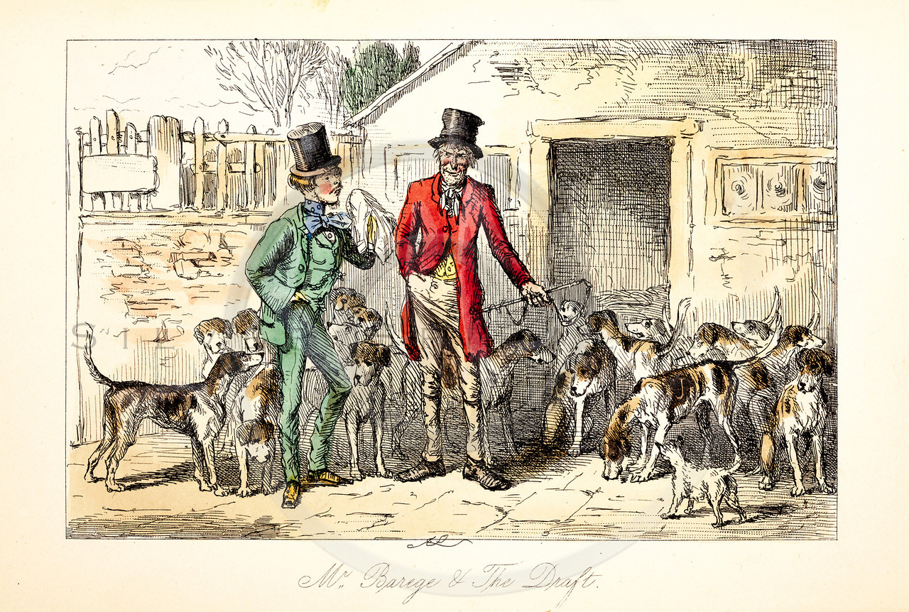 Vintage 1800s Color Illustration of Satirical Hunting Scene from MR. JORROCK'S HUNT by Robert Surtees.