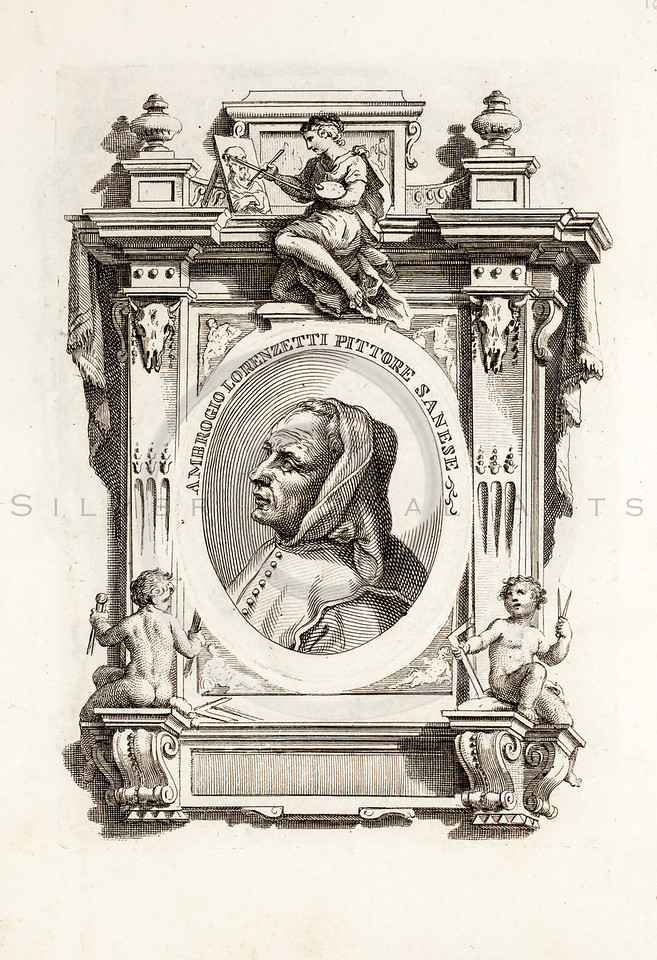 Vintage 1600s Sepia Illustration of an Artist's Portrait - LIVES OF THE MOST EXCELLENT PAINTERS & SCULPTERS by G. Vasari.