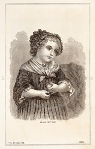 Vintage 1800s Sepia Fashion Illustration of Victorian Child - GODEY'S & PETERSON'S LADY'S MAGAZINES.
