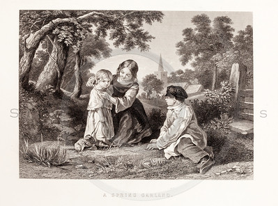 Vintage 1800s Black & White Fashion Illustration of Victorian Children - GODEY'S & PETERSON'S LADY'S MAGAZINES.