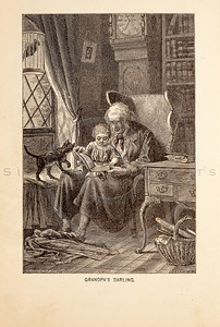 Vintage 1800s Sepia Fashion Illustration of Victorian Man with Child - GODEY'S & PETERSON'S LADY'S MAGAZINES.