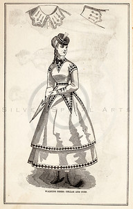 Vintage 1800s Sepia Victorian Illustration of Women's Dress Fashion - GODEY'S & PETERSON'S LADY'S MAGAZINES.