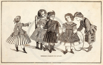 Vintage 1800s Sepia Victorian Illustration of Children Playing - GODEY'S & PETERSON'S LADY'S MAGAZINES.