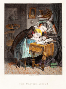 Vintage illustration of School girl, c1850.  The natural age-toning, paper stains, and antique printing imperfections are preserved in this 1800s vintage stock image.