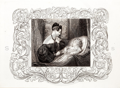 Vintage 1800s Black & White Fashion Illustration of Victorian Woman with Baby - GODEY'S & PETERSON'S LADY'S MAGAZINES.