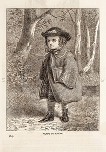 Vintage 1800s Sepia Fashion Illustration of Victorian Child Going to School - GODEY'S & PETERSON'S LADY'S MAGAZINES.