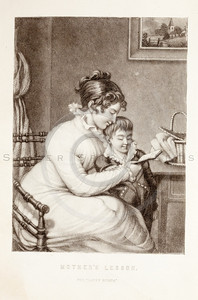 Vintage 1800s Black & White Fashion Victorian Illustration of Woman with Boy - GODEY'S & PETERSON'S LADY'S MAGAZINES.