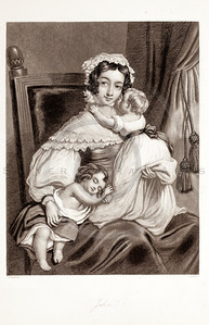Vintage 1800s Black & White Fashion Illustration of Victorian Woman with Children - GODEY'S & PETERSON'S LADY'S MAGAZINES.