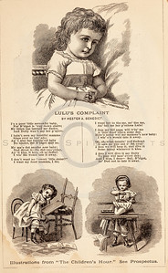Vintage 1800s Sepia Fashion Illustration with Text of Victorian Girl - GODEY'S & PETERSON'S LADY'S MAGAZINES.