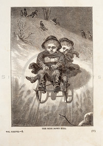 Vintage 1800s Sepia Fashion Illustration of Victorian Children Sledding - GODEY'S & PETERSON'S LADY'S MAGAZINES.