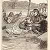 Vintage 1800s Sepia Fashion Illustration of Victorian Women and Children on Picnic - GODEY'S & PETERSON'S LADY'S MAGAZINES.
