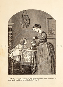 Vintage 1800s Sepia Fashion Illustration of Victorian Woman and Child - GODEY'S & PETERSON'S LADY'S MAGAZINES.