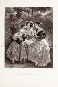 Vintage 1800s Black & White Fashion Illustration of Victorian Women and Children - GODEY'S & PETERSON'S LADY'S MAGAZINES.