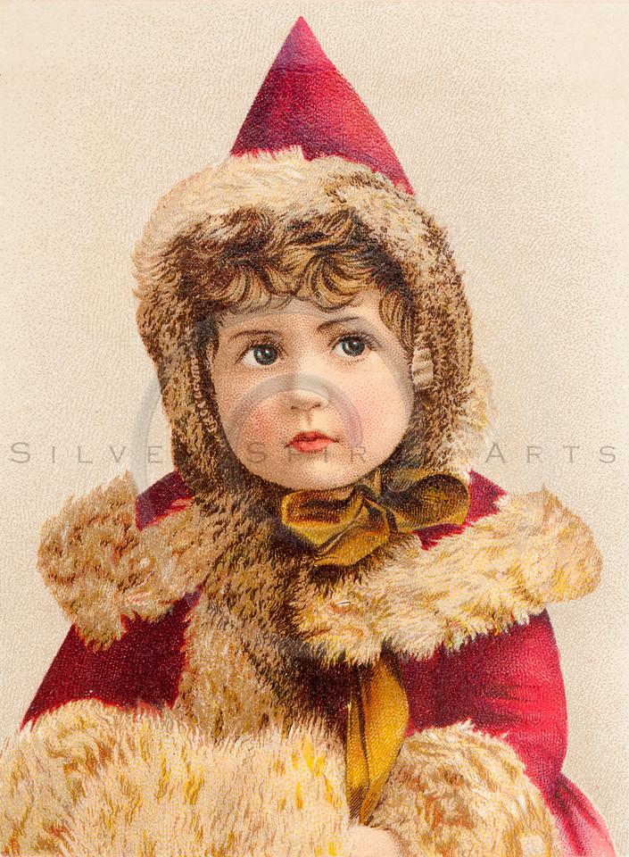 Vintage Girl Red Fur Trim Coat Illustration - 1800s Advertisement Images.