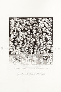 Vintage 1800s Sepia Illustration of Caricature Heads steel engraving print from The Works of William Hogarth by John Nicols.  The natural patina, age-toning, imperfections, and old paper antiquing of this vintage 19th century illustration are preserved in this image.