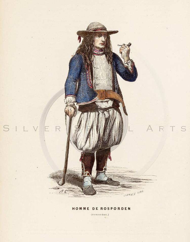 Vintage 1800s Color Illustration of French Men's Costume - LA BRETAGNE MODERNE by J. Johannot.