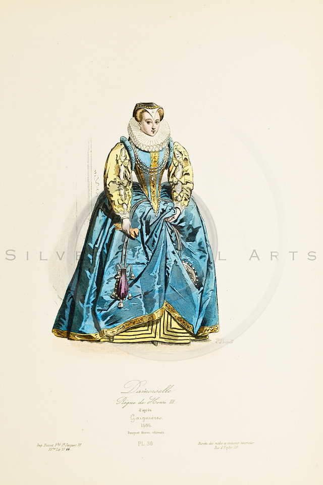 Vintage Color Illustration of Modes et Costumes Historiques (Fashions and Historical Costumes)