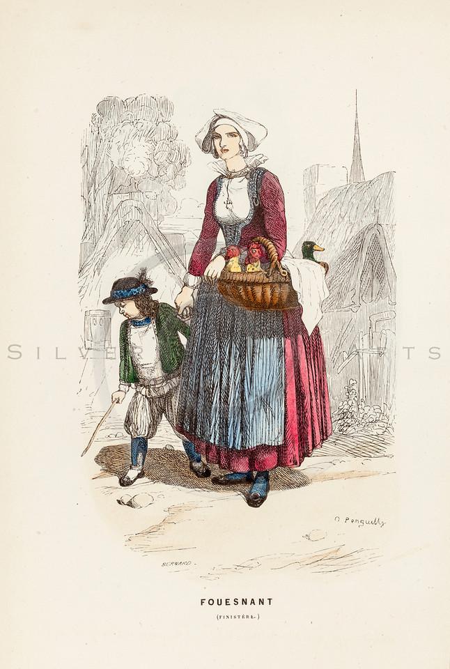 Vintage 1800s Color Illustration of French Costumes - LA BRETAGNE MODERNE by J. Johannot.