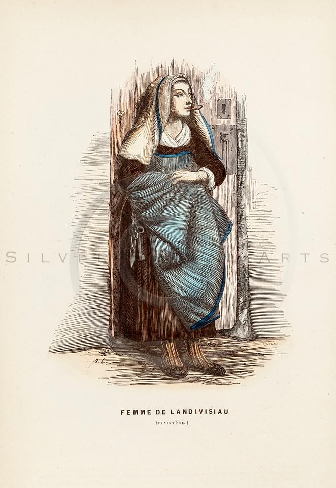 Vintage 1800s Color Illustration of French Women's Costume - LA BRETAGNE MODERNE by J. Johannot.