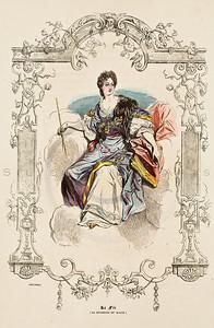 Vintage Color Illustration-- hand colored lithograph from  LES FRANCAIS SOUS LOUIS XIV & LOUIS XV (The French Under Louis  XIV & Louis XV) by Paul-Louis Giafferri in Paris, France in 1922