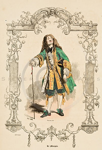 Vintage Color Illustration-- hand colored lithograph from  LES FRANCAIS SOUS LOUIS XIV & LOUIS XV (The French Under Louis  XIV & Louis XV) by Paul-Louis Giafferri in Paris, France in 1922