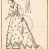 Vintage Black and White  Illustration of 1800s women's fashion plate from Harper's Weekly