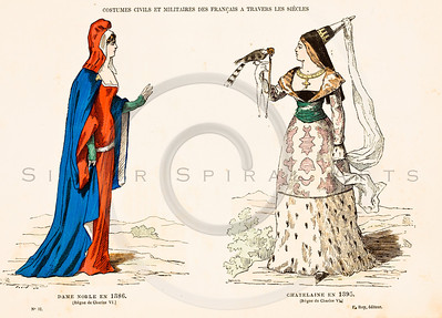 "Vintage color illustration of 1800s hand colored fashion lithograph from Augustin Challamel's ""COSTUMES OF PARIS THROUGH THE CENTURIES"", (""COSTUMES DE PARIS A TRAVERS LES SIECLES""). Paris, France (1882)."