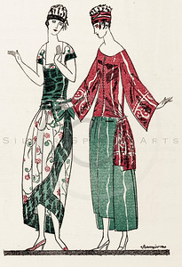 Vintage 1900s Color Art Deco Illustration of Dress Fashions from GAZETTE BON TON. The natural patina, age-toning, imperfections, and old paper antiquing of this vintage 20th century illustration are preserved in this image.