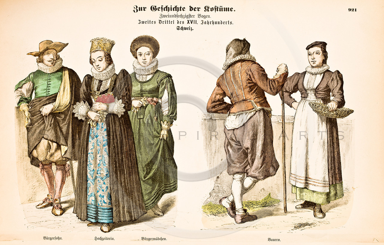 "Vintage Color Illustration of hand colored fashion lithograph ""COSTUMES OF ALL NATIONS"" printed in the late 1800s.  (1890)"