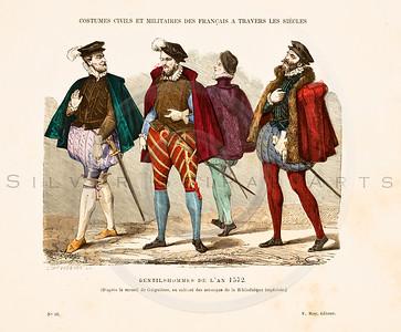 "Vintage color illustration of 1800s hand colored fashion lithograph from Augustin Challamel's ""COSTUMES OF PARIS THROUGH THE CENTURIES"", (""COSTUMES DE PARIS A TRAVERS LES SIECLES""). Paris, France (1882)."