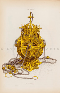 Vintage illustration of a Golden Decorative Censer from DRESSES & DECORATIONS OF THE MIDDLE AGES by Henry Shaw, 1843.  The natural age-toning, paper stains, and antique printing imperfections are preserved in this 1800s vintage stock image.