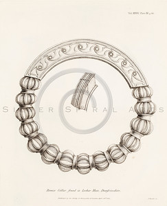 Vintage 1800s Sepia Illustration of an Antique Collar - MISCELLANEOUS TRACTS RELATING TO ANTIQUITY by Society of Antiquaries in London.