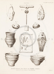 Vintage 1800s Sepia Illustration of Antique Vases - MISCELLANEOUS TRACTS RELATING TO ANTIQUITY by Society of Antiquaries in London.