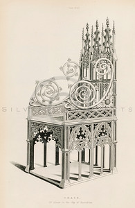 Vintage illustration of a Throne from DRESSES & DECORATIONS OF THE MIDDLE AGES by Henry Shaw, 1843.  The natural age-toning, paper stains, and antique printing imperfections are preserved in this 1800s vintage stock image.