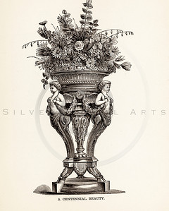 Vintage illustration of flowers in a vase from 1887.  The natural age-toning, paper stains, and antique printing imperfections are preserved in this 1800s vintage stock image.