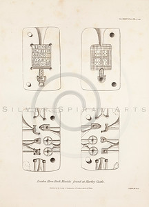 Vintage 1800s Sepia Illustration of Antique Leaden Hornbook Moulds - MISCELLANEOUS TRACTS RELATING TO ANTIQUITY by Society of Antiquaries in London.