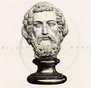 Vintage 1800s Color Illustration of a Sculpture of a Head from HISTOIRE DU MOBILIER by Albert Jacquemart.  The natural patina, age-toning, imperfections, and old paper antiquing of this vintage 19th century illustration are preserved in this image.